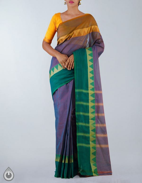 Online Shopping for Violet-Brown Pure Handloom Kanchi Cotton Plain Saree with Weaving from  Tamilnadu at Unnatisilks.com, India