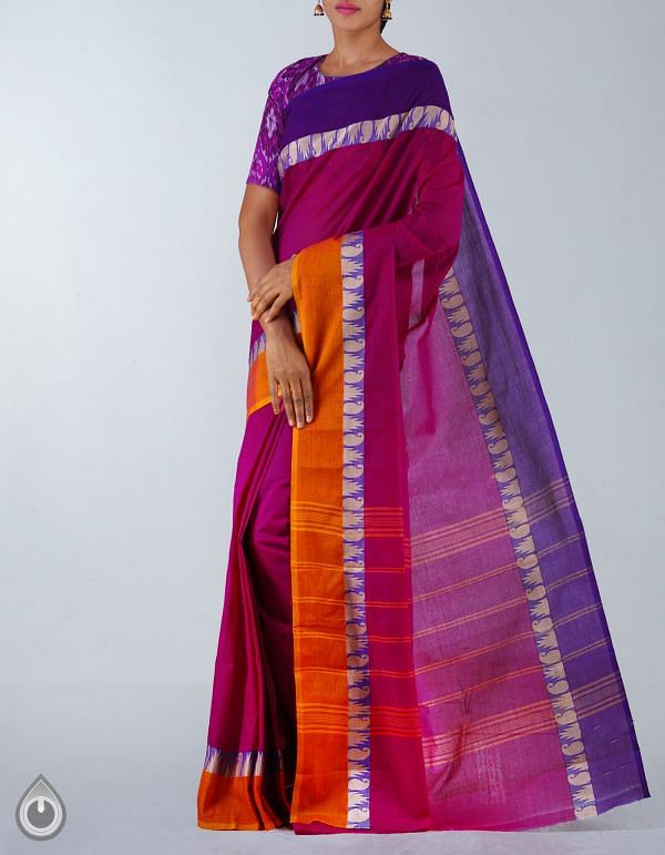 Online Shopping for Purple Pure Handloom Kanchi Cotton Plain Saree with Weaving from Tamilnadu at Unnatisilks.com, India