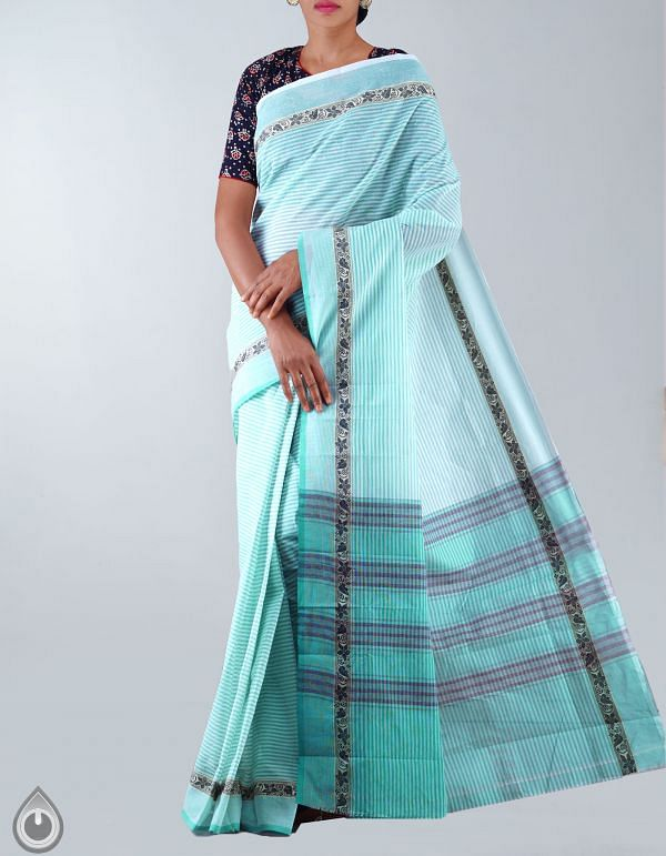 Online Shopping for White-Green Pure Handloom Chettinad Cotton Saree with Weaving from  Tamilnadu at Unnatisilks.com, India