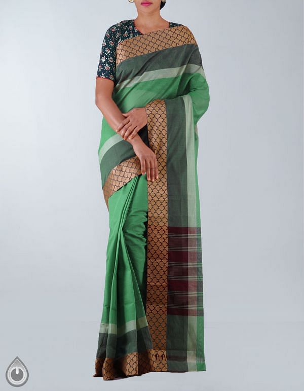 Online Shopping for Green Pure Handloom Kanchi Cotton Plain Saree with Weaving from Tamilnadu at Unnatisilks.com, India