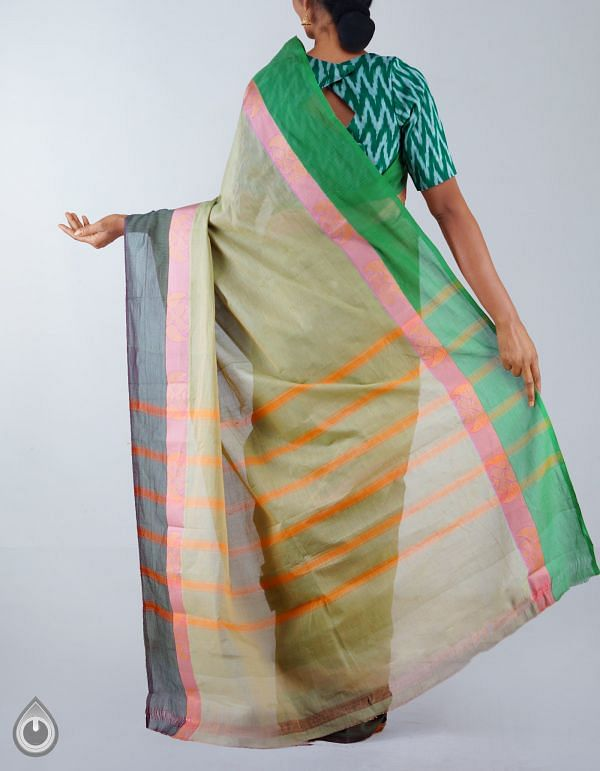 Green Pure Handloom Kanchi Cotton Plain Saree-UNM23527