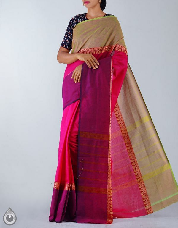 Online Shopping for Pink Pure Handloom Kanchi Cotton Plain Saree with Weaving from Tamilnadu at Unnatisilks.com, India