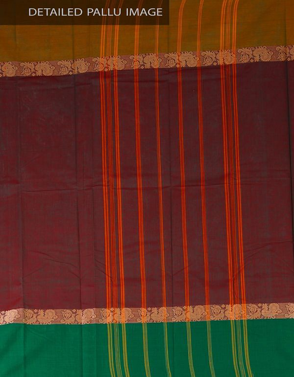 UNM23530-Green-Maroon Pure Handloom Kanchi Cotton Plain Saree