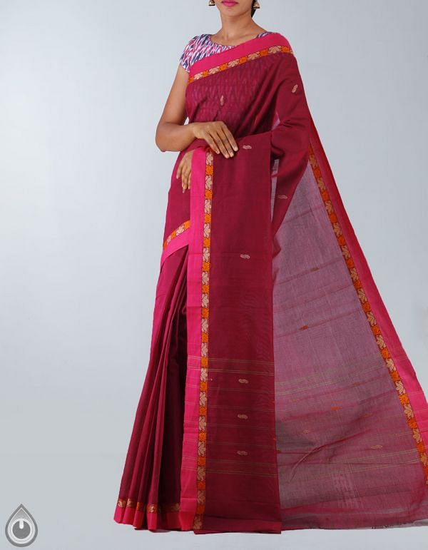 Online Shopping for Maroon Pure Handloom Chettinad Cotton Plain Saree with Weaving from  Tamilnadu at Unnatisilks.com, India