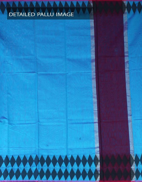 Online Shopping for Blue Pure Chanderi Sico Plain Saree with Weaving from Madhya Pradesh at Unnatisilks.com, India