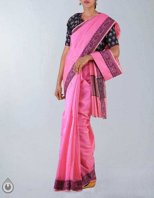 Online Shopping for Pink Pure Chanderi Sico Plain Saree with Weaving from Madhya Pradesh at Unnatisilks.com, India