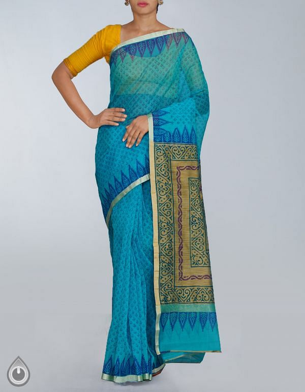 Blue Banarasi Supernet Hand Block Printed Saree-UNMP23580