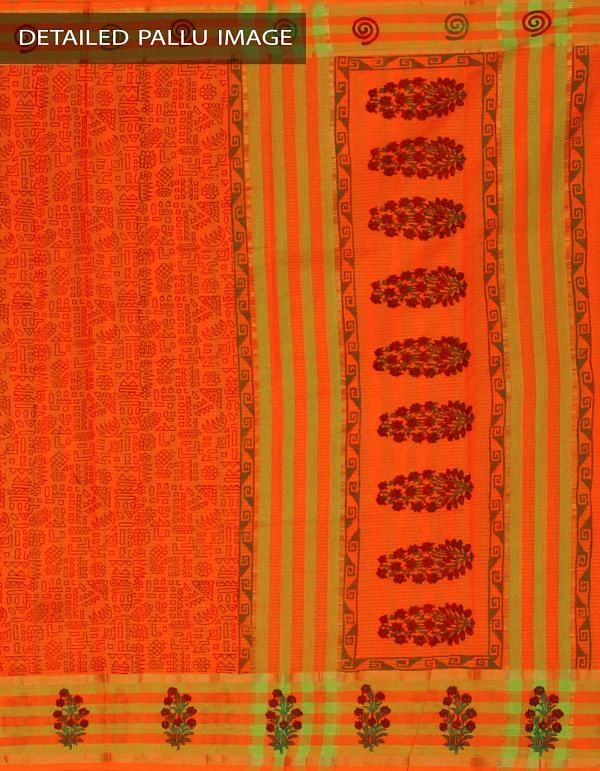 Online Shopping for Orange Pure Mangalagiri Cotton Saree with Hand Block Prints from Andhra Pradesh at Unnatisilks.com, India