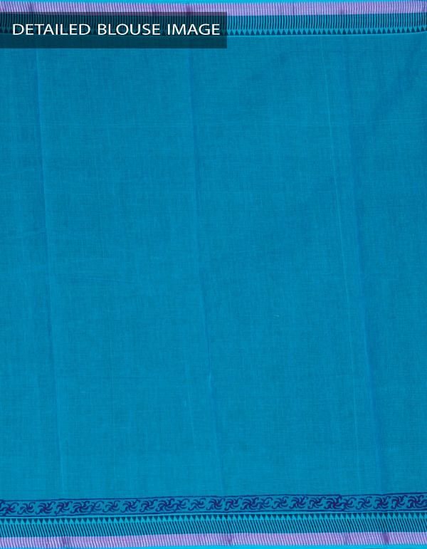 Online Shopping for Blue Pure Mangalagiri Cotton Saree with  from Andhra Pradesh at Unnatisilks.com, India
