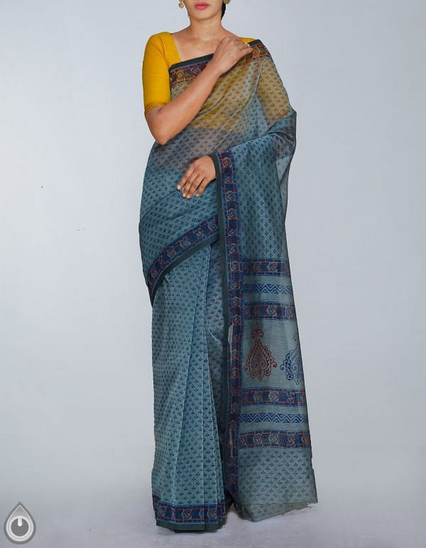 Online Shopping for Grey Banarasi Supernet Hand Block Printed Saree with Hand Block Prints from Uttar Pradesh at Unnatisilks.com, India
