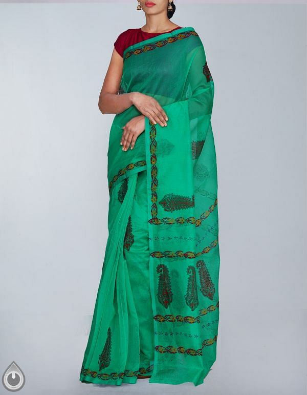 Online Shopping for Green Banarasi Supernet Hand Block Printed Saree with Hand Block Prints from Uttar Pradesh at Unnatisilks.com, India
