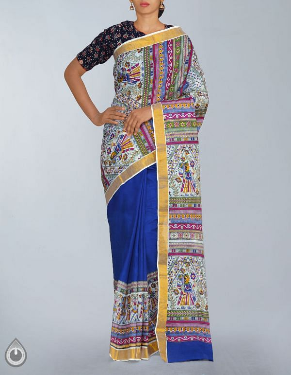 Online Shopping for Blue Pure Rajkot Cotton Madhubani Plain Saree with Madhubani Prints from Bihar at Unnatisilks.com, India