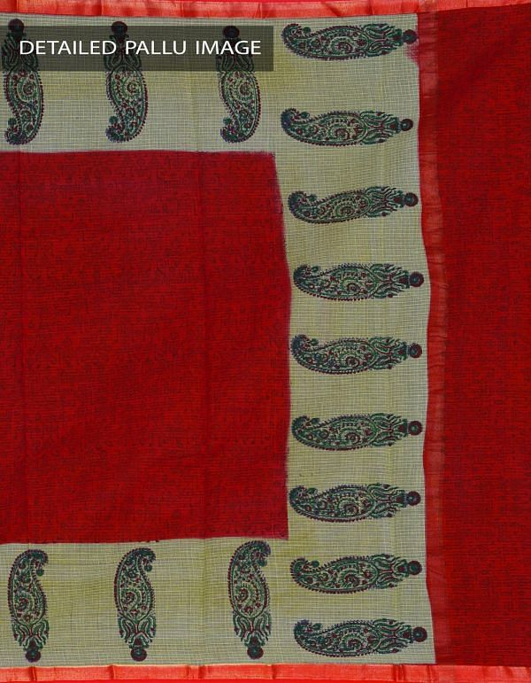 Online Shopping for Red Pure Kota Cotton Hand Block Printed Saree with Hand Block Prints from Rajasthan at Unnatisilks.com, India
