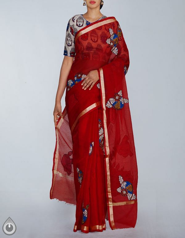 UNM23613-Red Pure Kota Cotton Kalamkari Applique Work Saree