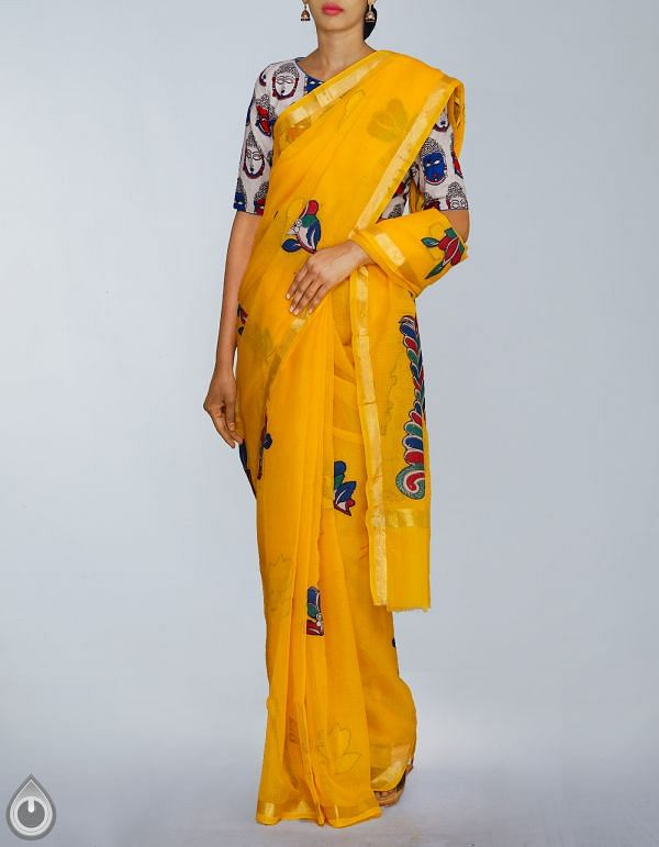 Online Shopping for Yellow Pure Kota Cotton Kalamkari Applique Work Saree with Kalamkari Applique from Rajasthan at Unnatisilks.com, India
