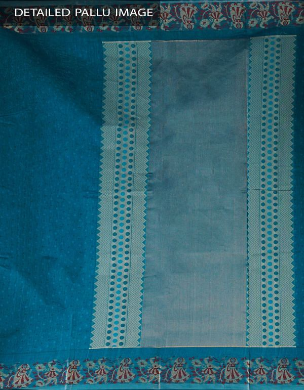 Online Shopping for Blue Pure Mysore Cotton Saree with Jacquard weaves from Karnataka at Unnatisilks.com, India
