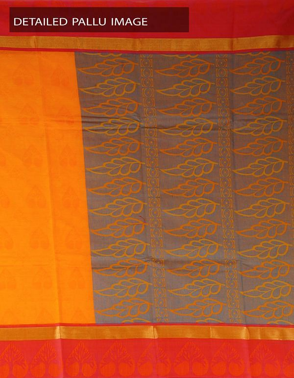 Online Shopping for Yellow Pure Mysore Cotton Saree with Jacquard weaves from Karnataka at Unnatisilks.com, India