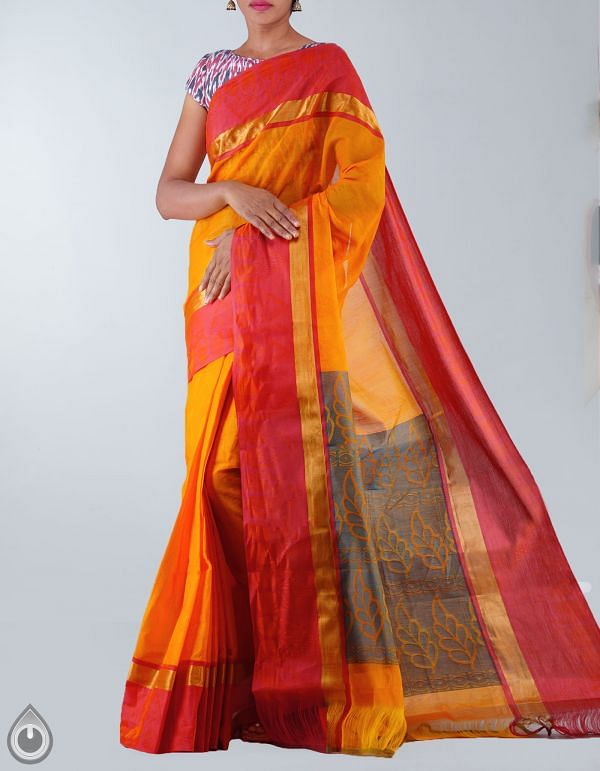 Yellow Pure Mysore Cotton Saree-UNM23633