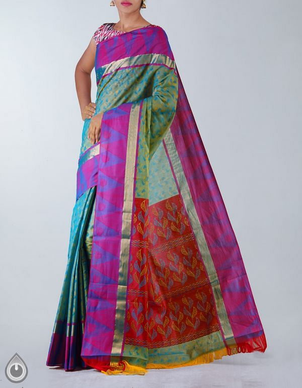 Online Shopping for Green-Blue Pure Mysore Cotton Saree with Jacquard weaves from Karnataka at Unnatisilks.com, India