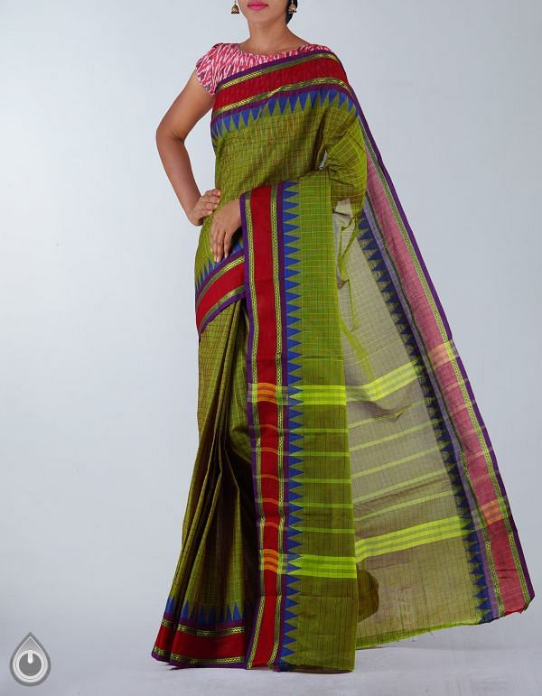 Green Pure Handloom Chettinad Cotton Saree-UNMP23689