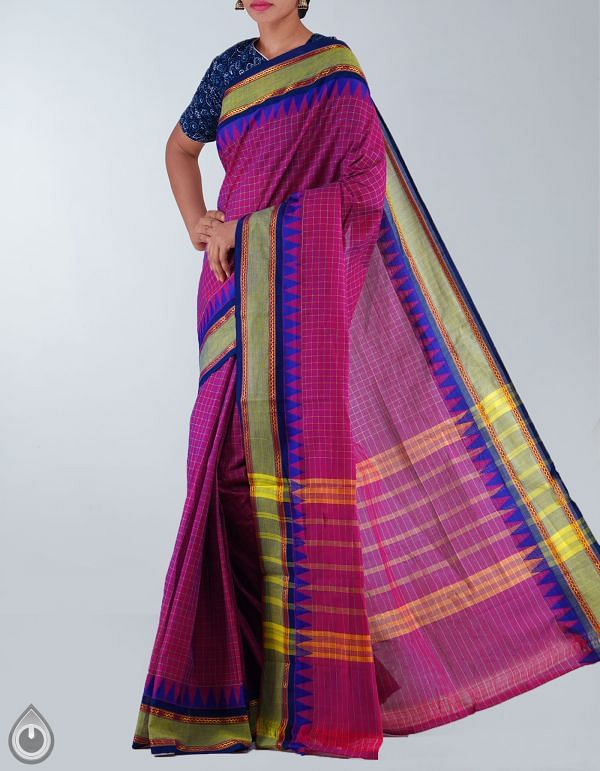 UNMP23690-Purple Pure Handloom Chettinad Cotton Saree