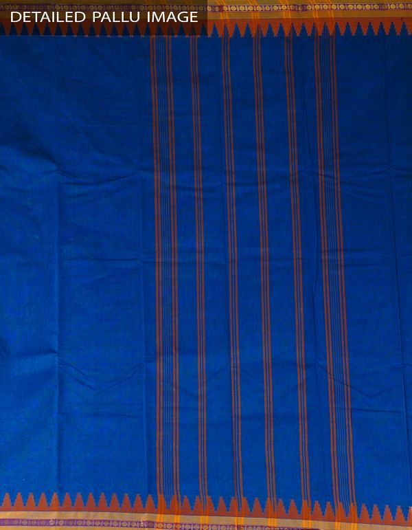 Online Shopping for Blue Pure Handloom Kanchi Cotton Plain Saree with Weaving from Tamilnadu at Unnatisilks.com, India