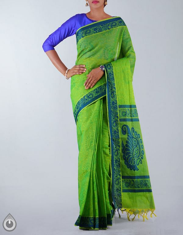 UNM23720-Parrot Green Pure Mysore Cotton Saree
