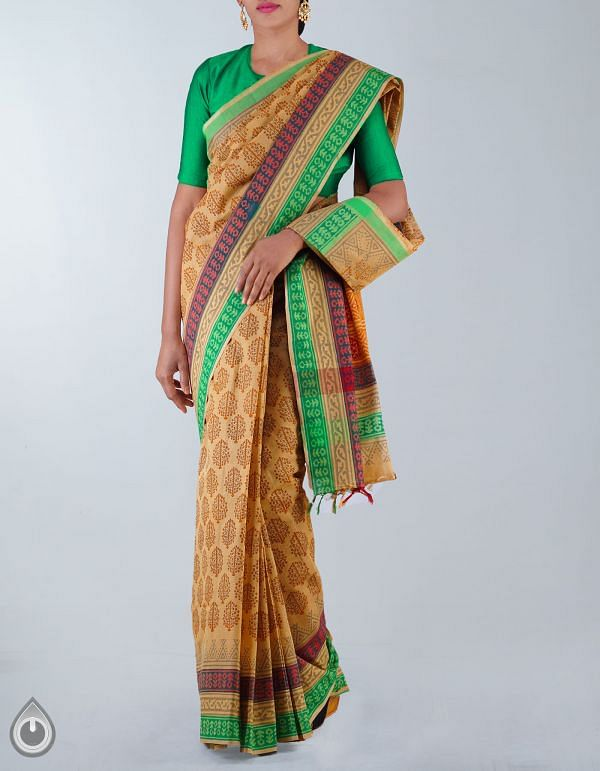 Online Shopping for Brown Pure Handloom Mangalagiri Cotton Saree with Hand Block Prints from Andhra Pradesh at Unnatisilks.com, India
