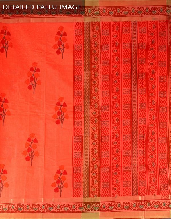 Online Shopping for Orange Pure Handloom Mangalagiri Cotton Saree with Hand Block Prints from Andhra Pradesh at Unnatisilks.com, India