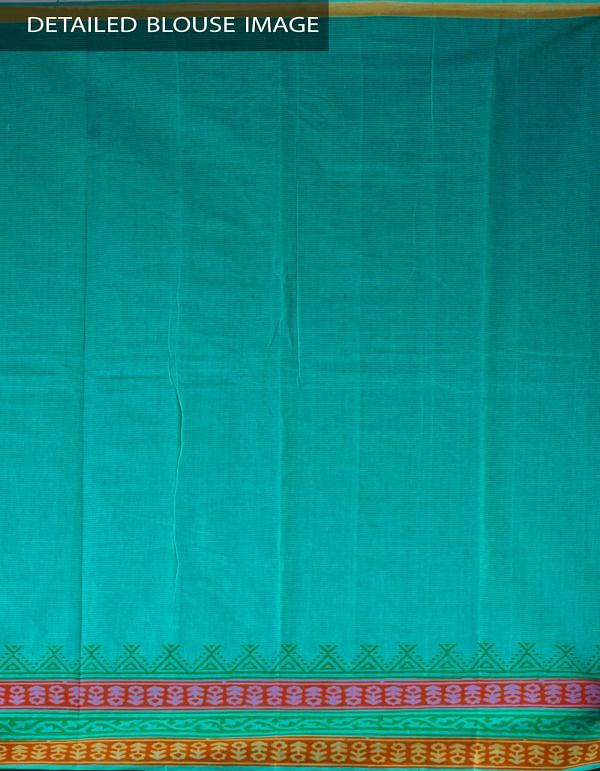 Green Pure Handloom Mangalagiri Cotton Saree-UNMP23736