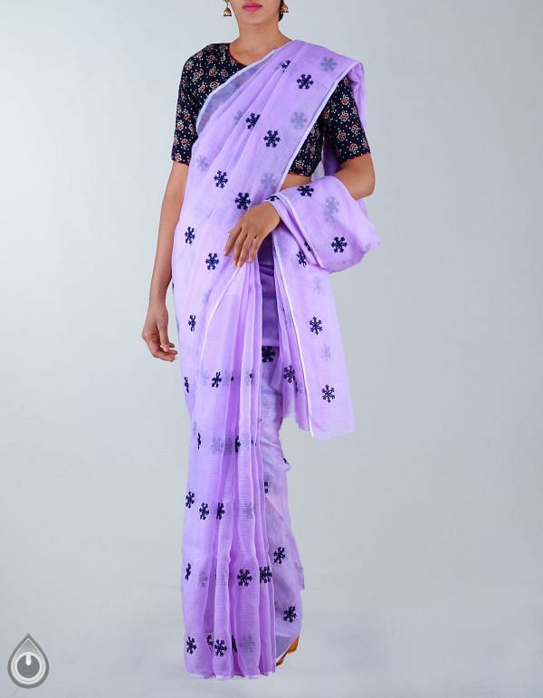 Online Shopping for Violet Pure Kota Cotton Embroidery Saree with  from Rajasthan at Unnatisilks.com, India