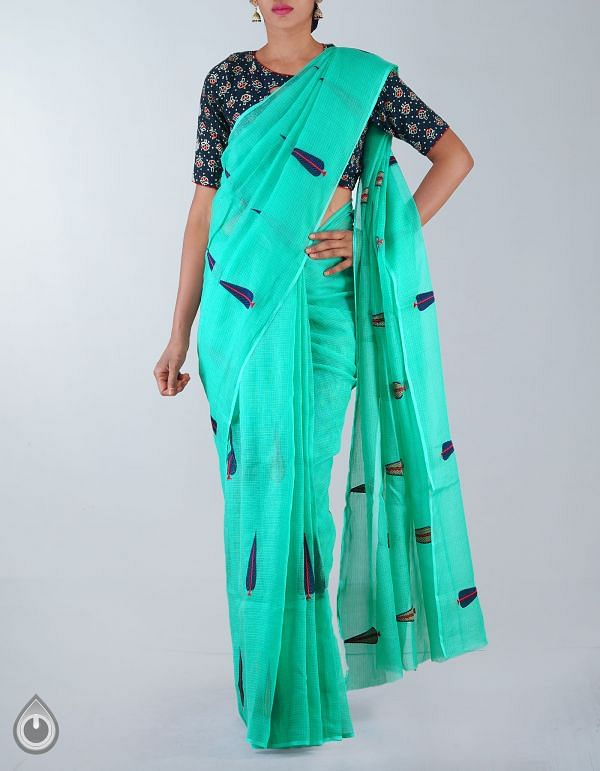 Online Shopping for Green Pure Kota Cotton Embroidery Saree with  from Rajasthan at Unnatisilks.com, India