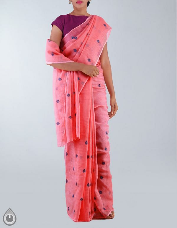 Hot Pink Pure Kota Cotton Embroidery Saree-UNM23753