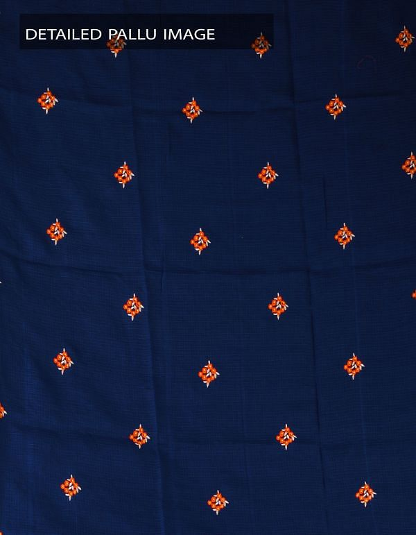UNM23754-Indigo Blue Pure Kota Cotton Embroidery Saree