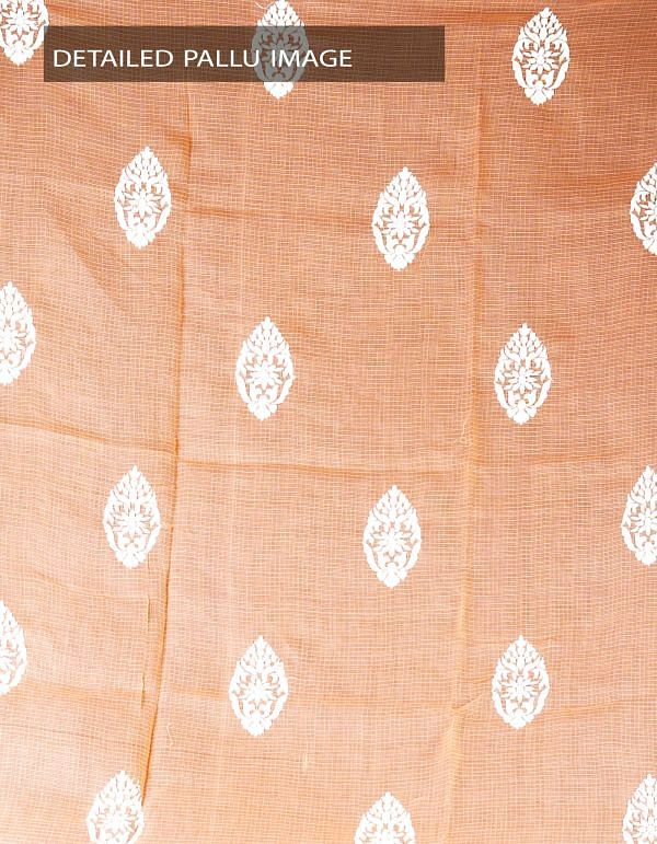 Online Shopping for Orange Pure Kota Cotton Embroidery Saree with Embroidery work from Rajasthan at Unnatisilks.com, India