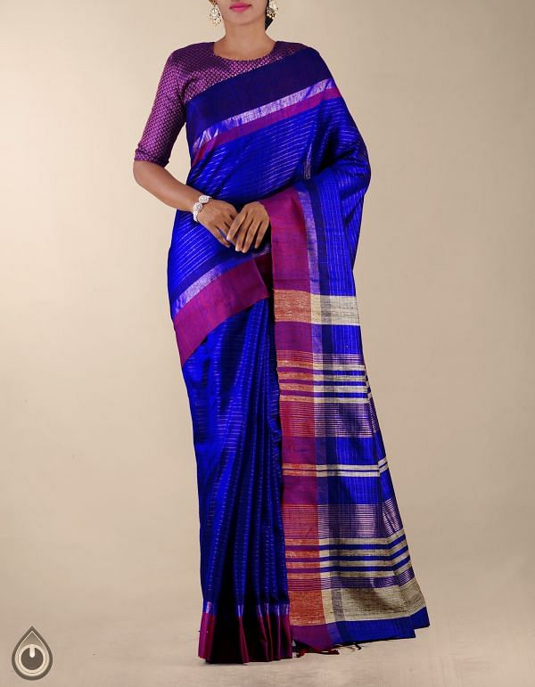 UNM23782-Blue Pure Handloom Muga Tussar Silk Saree