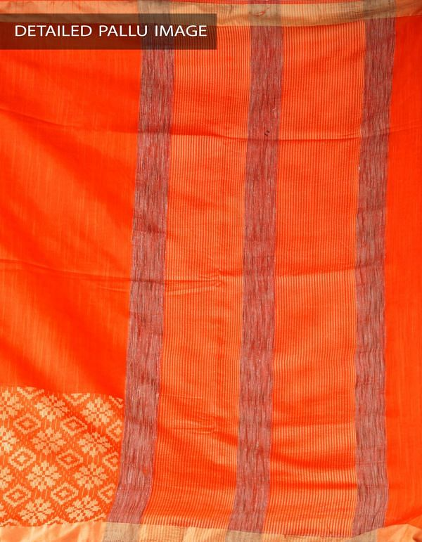 Online Shopping for Orange Soft Art Linen Plain Saree with Weaving from Jharkhand at Unnatisilks.com, India