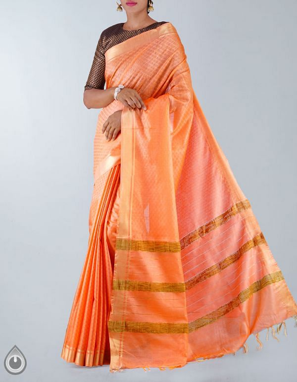 Online Shopping for Orange Soft Art Linen Saree with weaves from Chhattisgarh at Unnatisilks.com, India