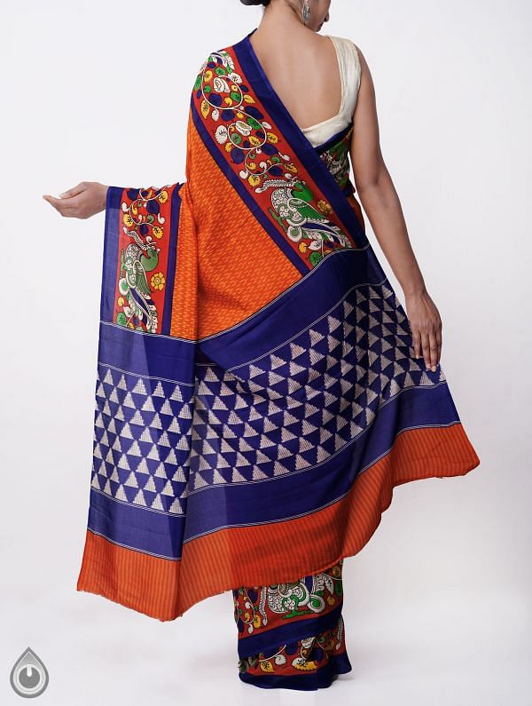 Orange-Blue Ikat Printed Pochampally Kalamkari Soft Silk Saree-UNMP23798