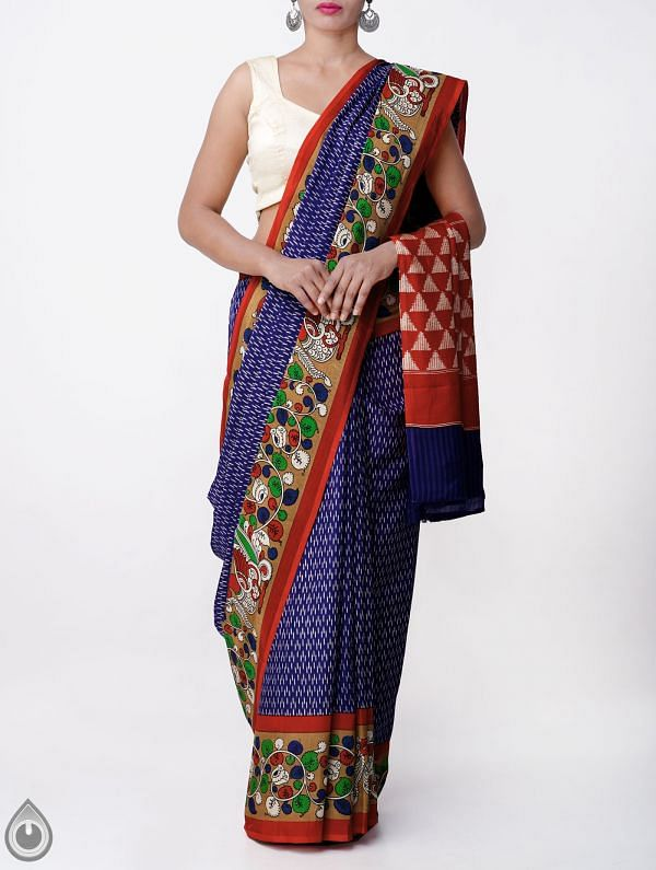 Online Shopping for Blue-Red Ikat Printed Pochampally Kalamkari Art Silk Saree with  from Andhra Pradesh at Unnatisilks.com, India