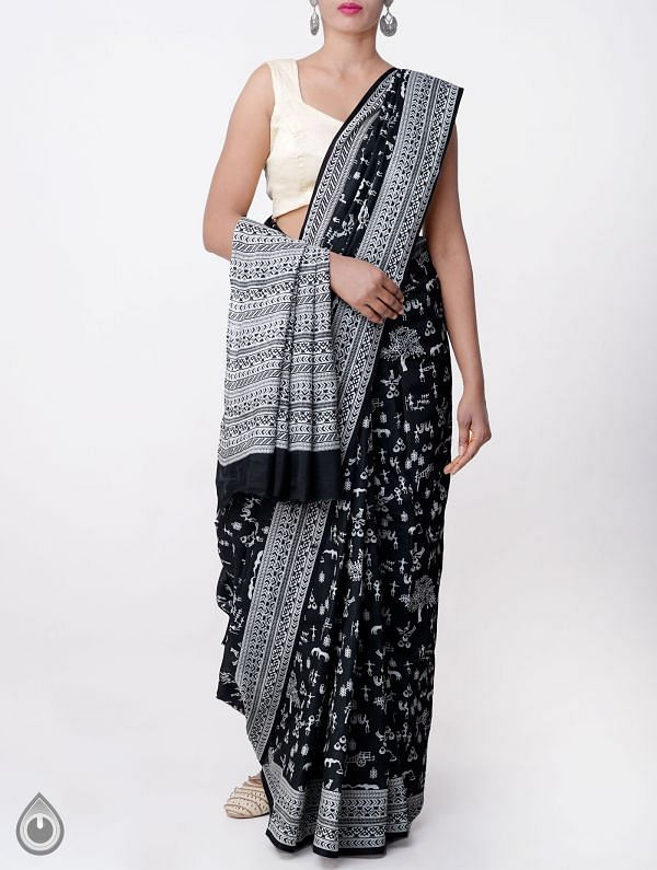 Online Shopping for Black Bengal Soft Art Silk Saree with lepakshi prints from West Bengal at Unnatisilks.com, India