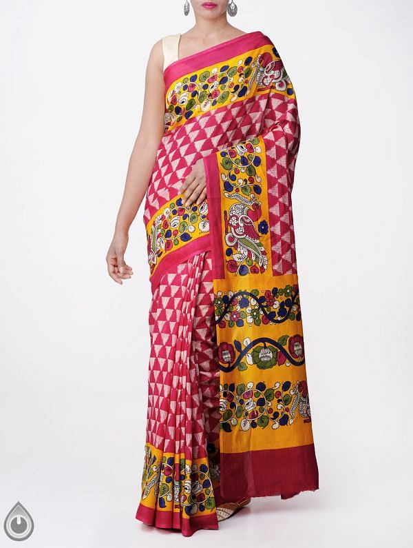 Online Shopping for Pink-Yellow Ikat Printed Pochampally Kalamkari Art Silk Saree with  from Andhra Pradesh at Unnatisilks.com, India