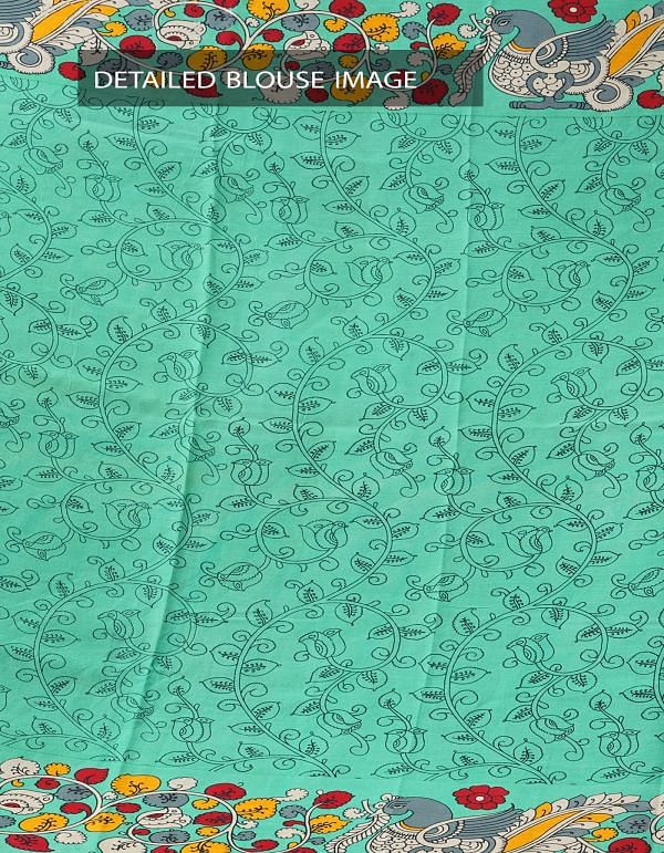 Black-Green Ikat Printed Pochampally Kalamkari Art Silk Saree