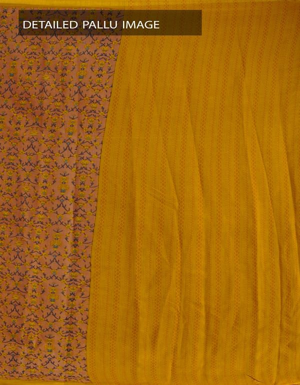 Online Shopping for Brown-Yellow Kalamkari Soft Art Silk Saree with  from Andhra Pradesh at Unnatisilks.com, India