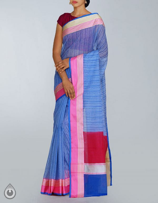 Online Shopping for White Pure Kota Cotton Saree with Hand Block Prints from Rajasthan at Unnatisilks.com, India