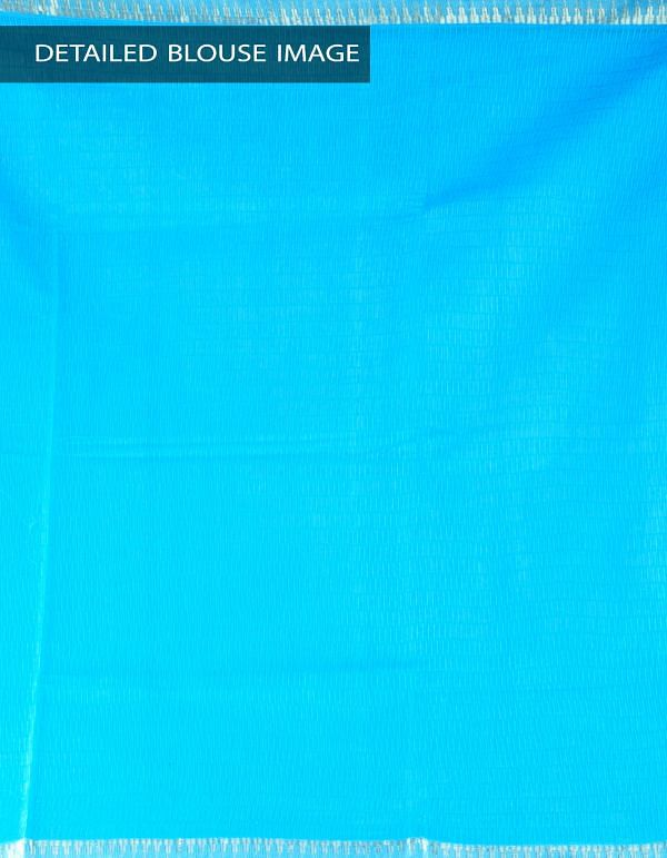 Online Shopping for Blue Soft Art Linen Saree with Weaving from Jharkhand at Unnatisilks.com, India