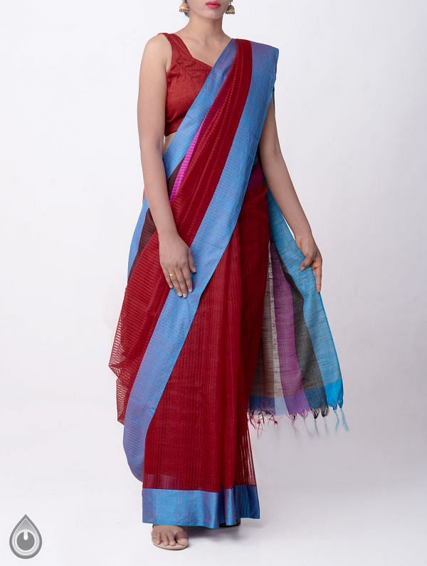 Online Shopping for Maroon Art Linen Saree with Weaving from Jharkhand at Unnatisilks.com, India