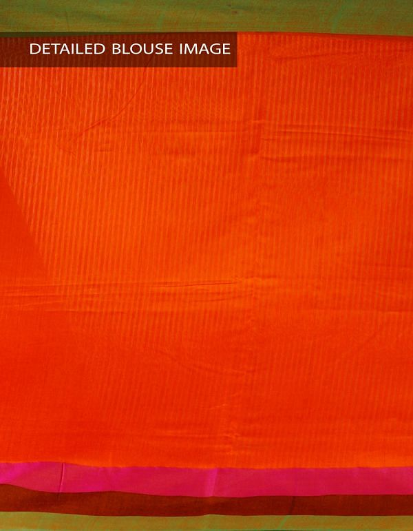 Online Shopping for Orange Art Linen Saree with Weaving from Jharkhand at Unnatisilks.com, India