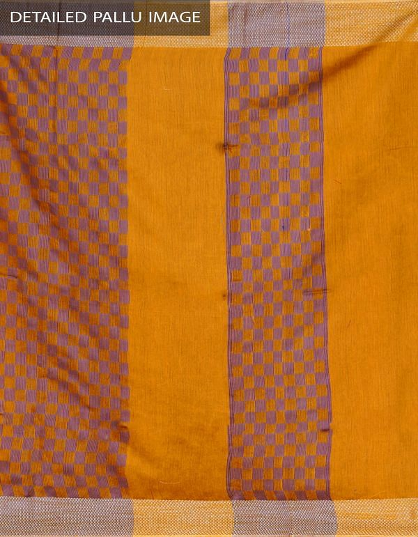 UNM23874-Yellow Soft Linen Plain Saree