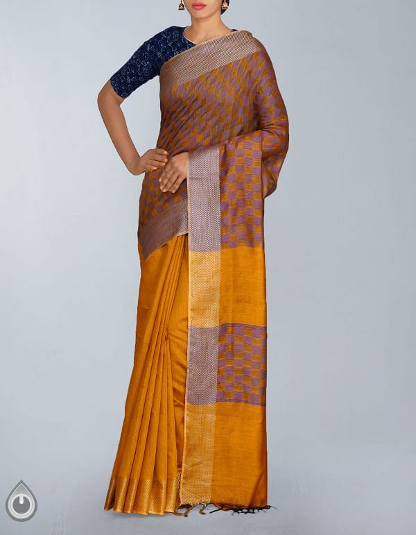 Online Shopping for Yellow Soft Art Linen Plain Saree with Weaves from Jharkhand at Unnatisilks.com, India